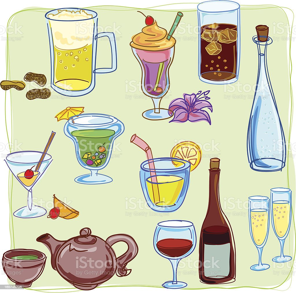 Beverage collection in colour vector art illustration