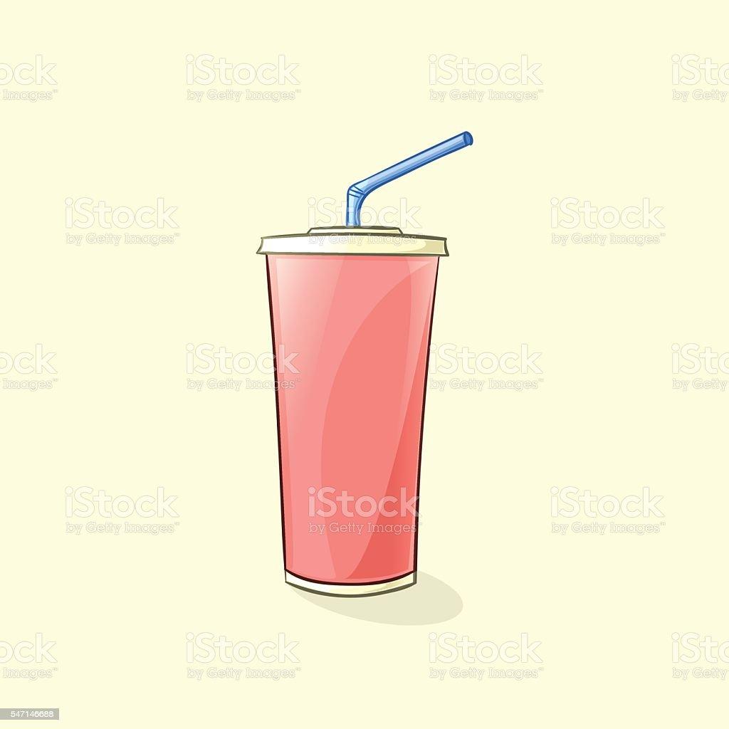 Beverage cup in cartoon style. Vector illustration - illustrazione arte vettoriale