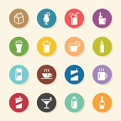 Beverage Icons Set 1 Color Circle Series Vector EPS10 File.