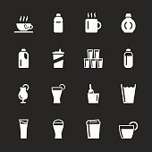 Beverage Icons Set 4 White Series Vector EPS10 File.