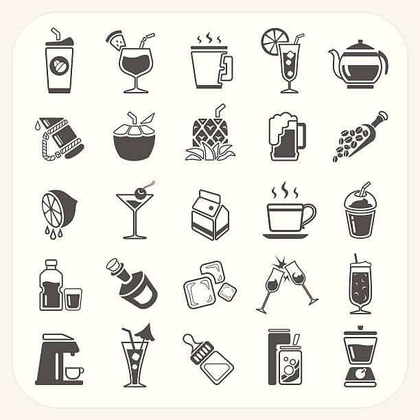 illustrazioni stock, clip art, cartoni animati e icone di tendenza di bevanda icone set - fruit juice bottle isolated