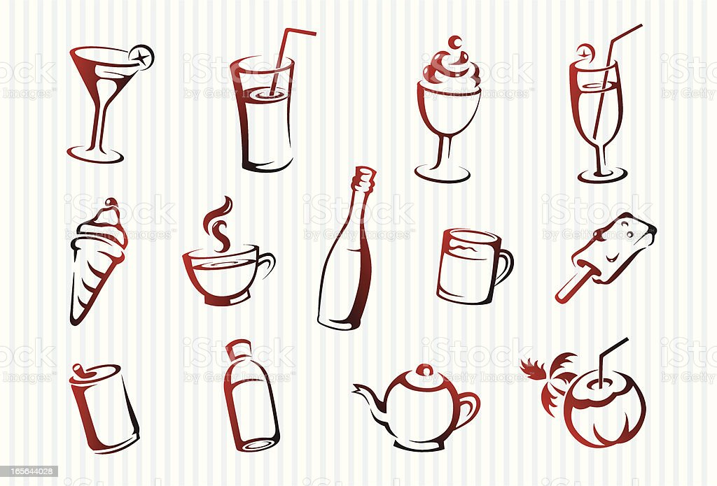 Beverage icons royalty-free stock vector art
