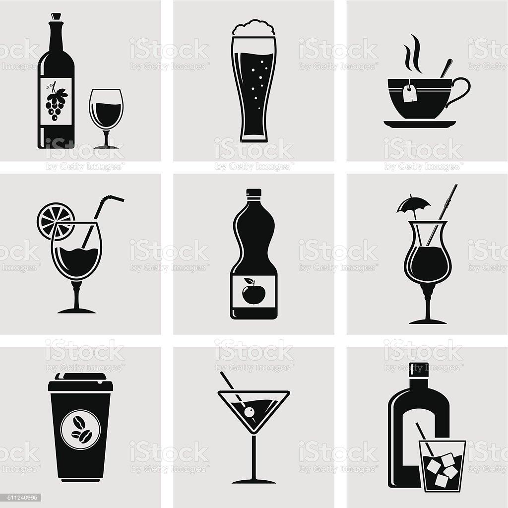 Beverage icons vector art illustration