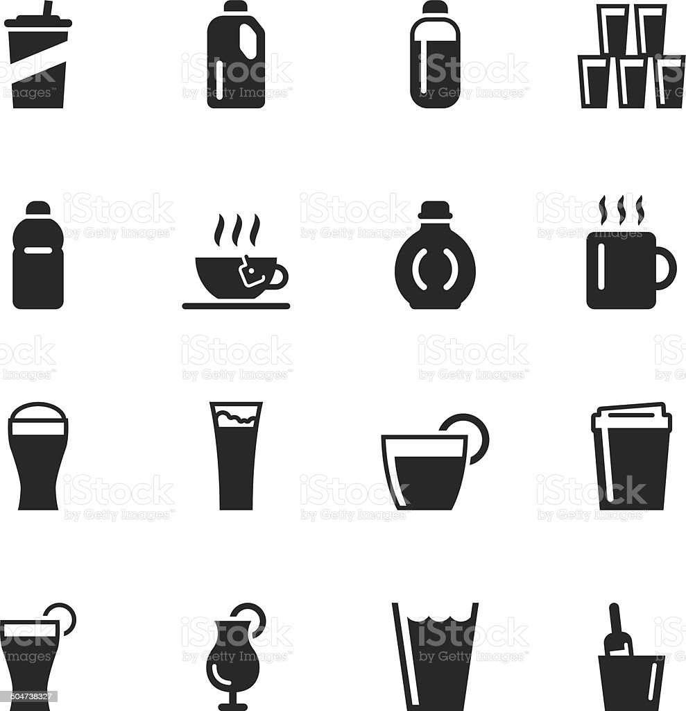Beverage Silhouette Icons | Set 4 vector art illustration