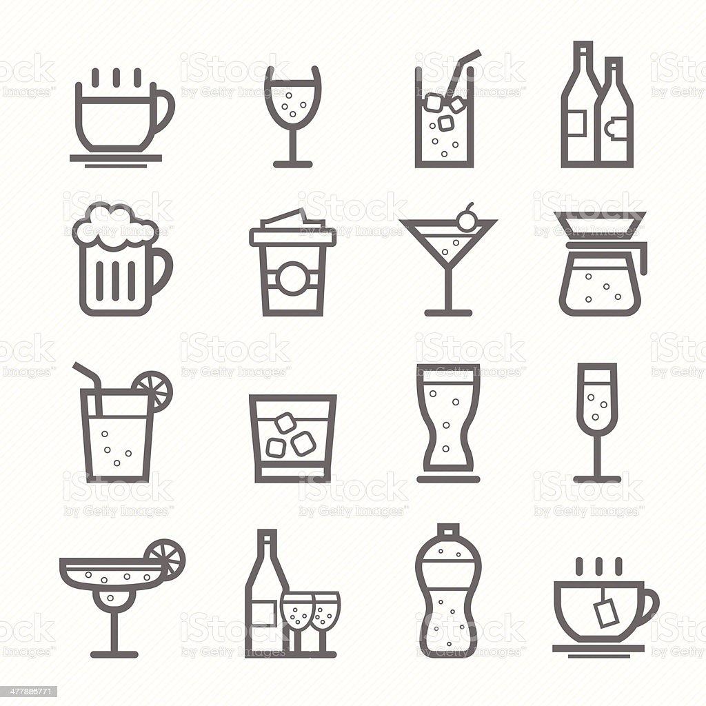 beverage symbol line icon set vector art illustration