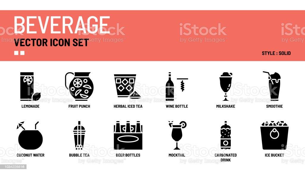 Beverage vector icon set vector art illustration