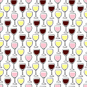 Seamless beverages vector pattern on white background. Hand drawn wineglasses with red, white and pink wine in it. Perfect for wallpaper or fabric.