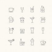 Beverage vector thin line symbol icon