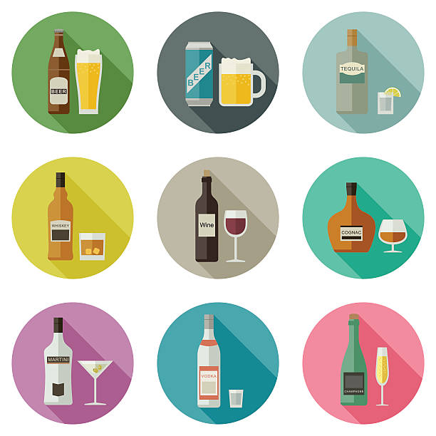 beverages and drinks icons. - refreshment stock illustrations, clip art, cartoons, & icons