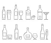 Alcoholic beverages thin line icons on white. Vector line icons of bottles and glasses.