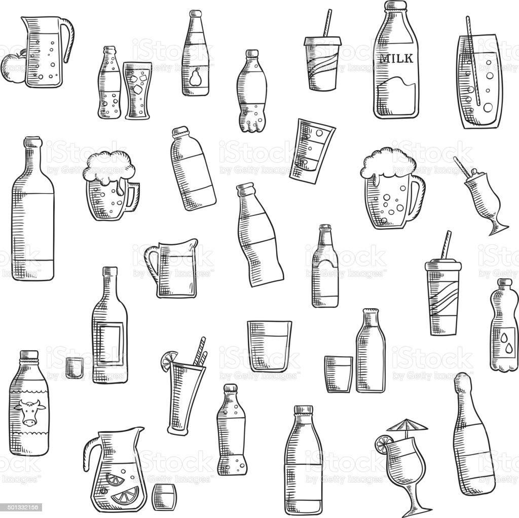Bevande, cocktail e bevande icone Ritratto - illustrazione arte vettoriale