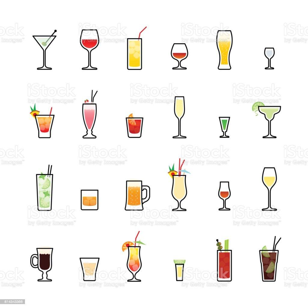 Bebidas de color los iconos en fondo blanco - ilustración de arte vectorial