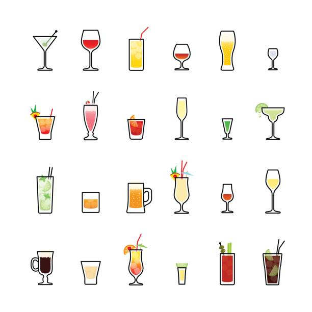 beverages color icons set on white background - alcohol drink icons stock illustrations