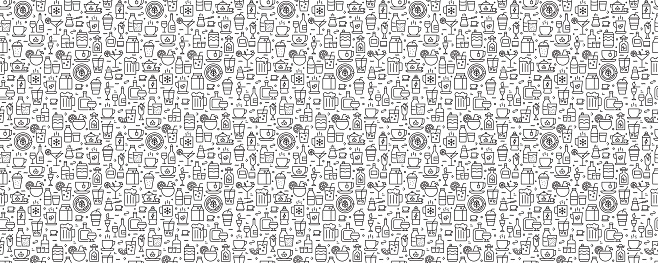 Beverages Seamless Pattern and Background with Line Icons