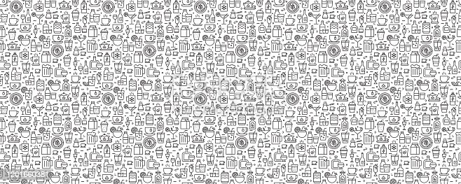istock Beverages Seamless Pattern and Background with Line Icons 1201660381