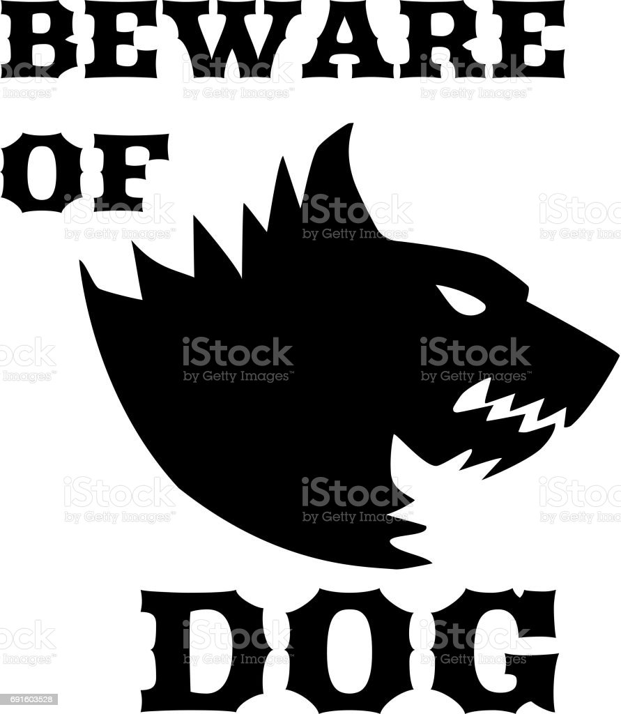 Beware of dog sign. Angry dog. Silhouette of a snarling dog. Vector flat illustration. Direwolf vector art illustration