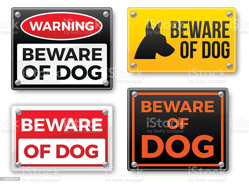 Beware of Dog Signs vector art illustration