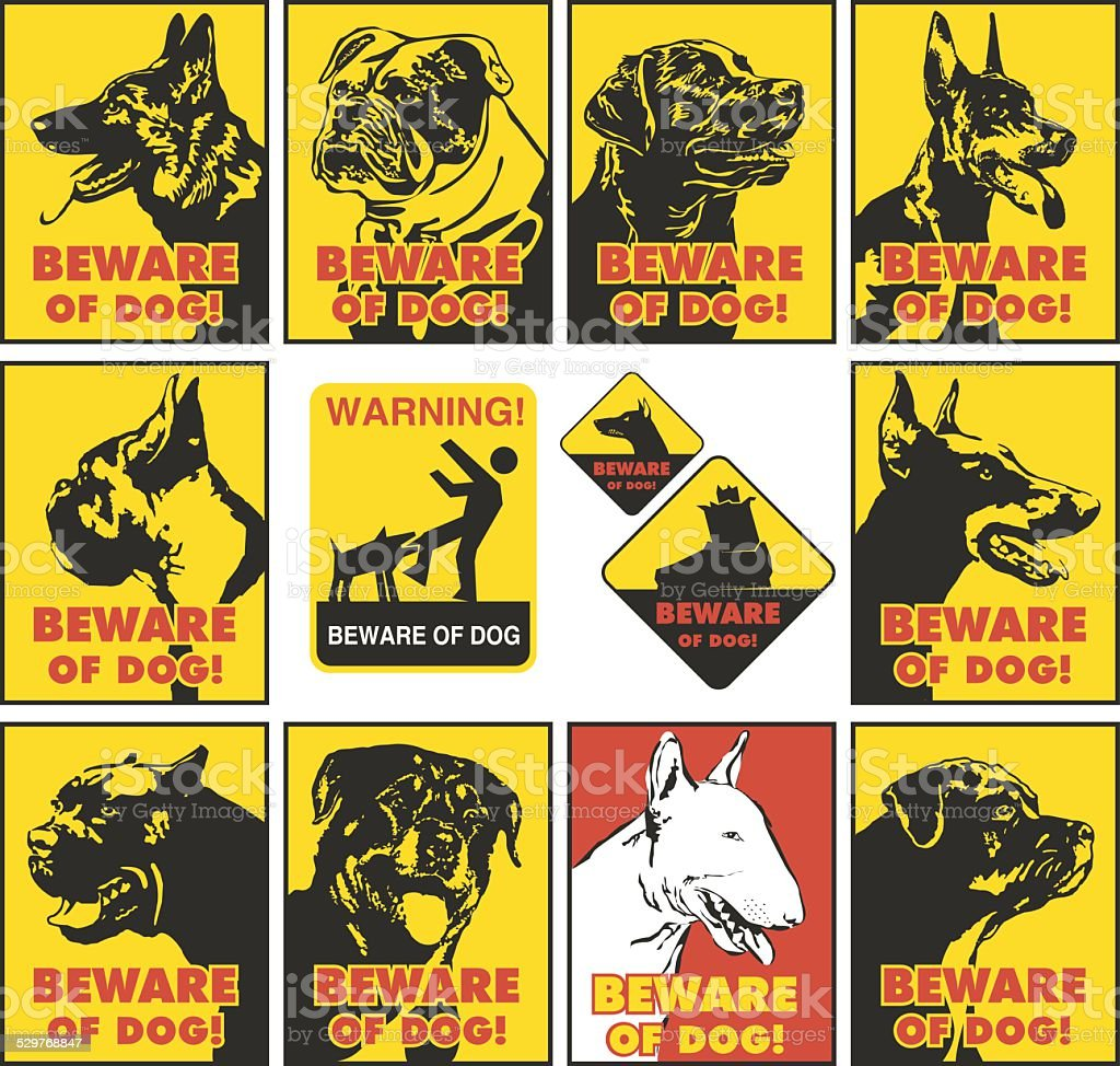 beware of dog vector art illustration