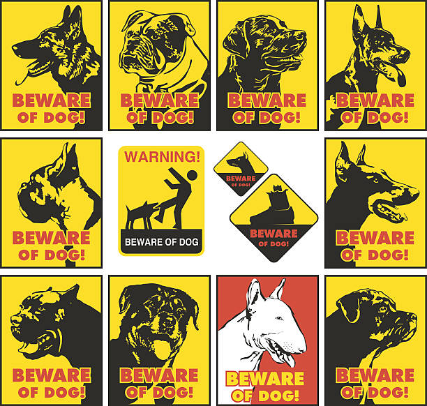 beware of dog Sign to beware of dog cane corso stock illustrations