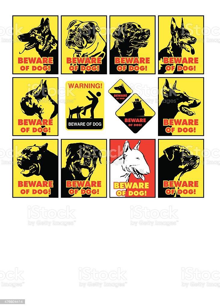 beware of dog vector symbol vector art illustration