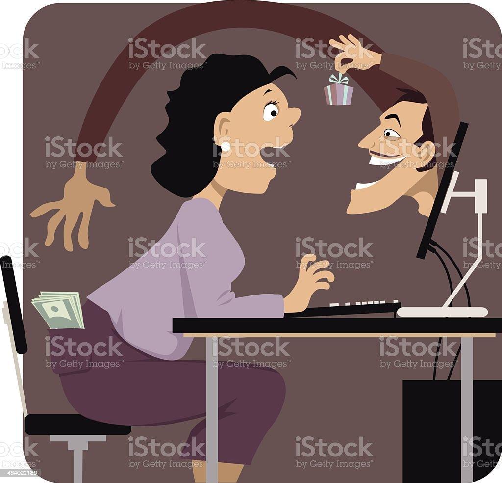 Beware of online scames vector art illustration