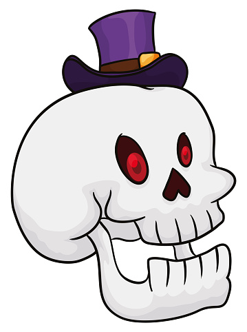 Bewitched Skull Smiling and Wearing a Purple Hat