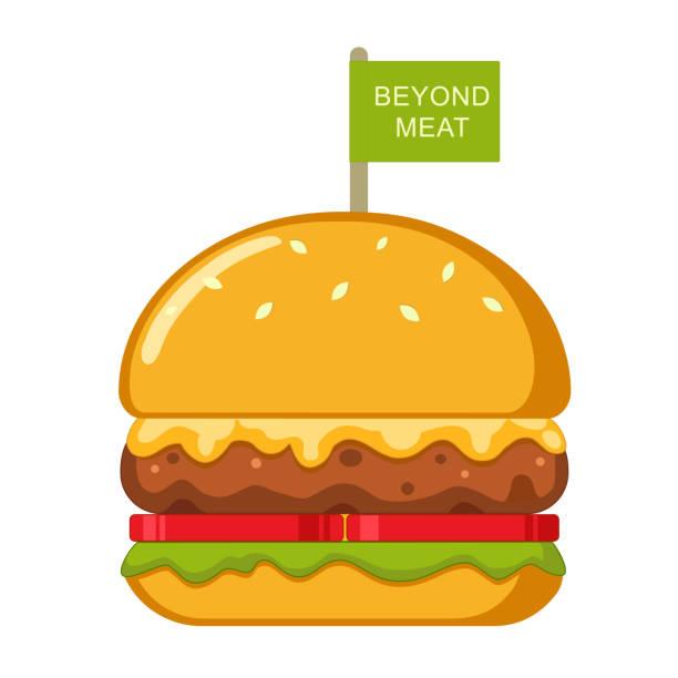 ein jenseits köstlicher pflanzlicher non-fleisch-käseburger mit tomaten und salat. - hamburger schnellgericht stock-grafiken, -clipart, -cartoons und -symbole