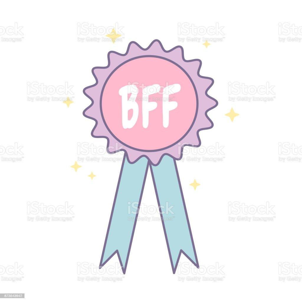 bff best friend forever medal cartoon vector isolated on white background vector art illustration