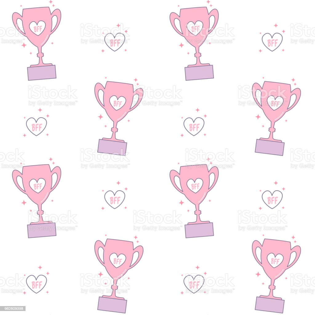 bff best friend forever trophy cartoon seamless vector pattern background vector art illustration