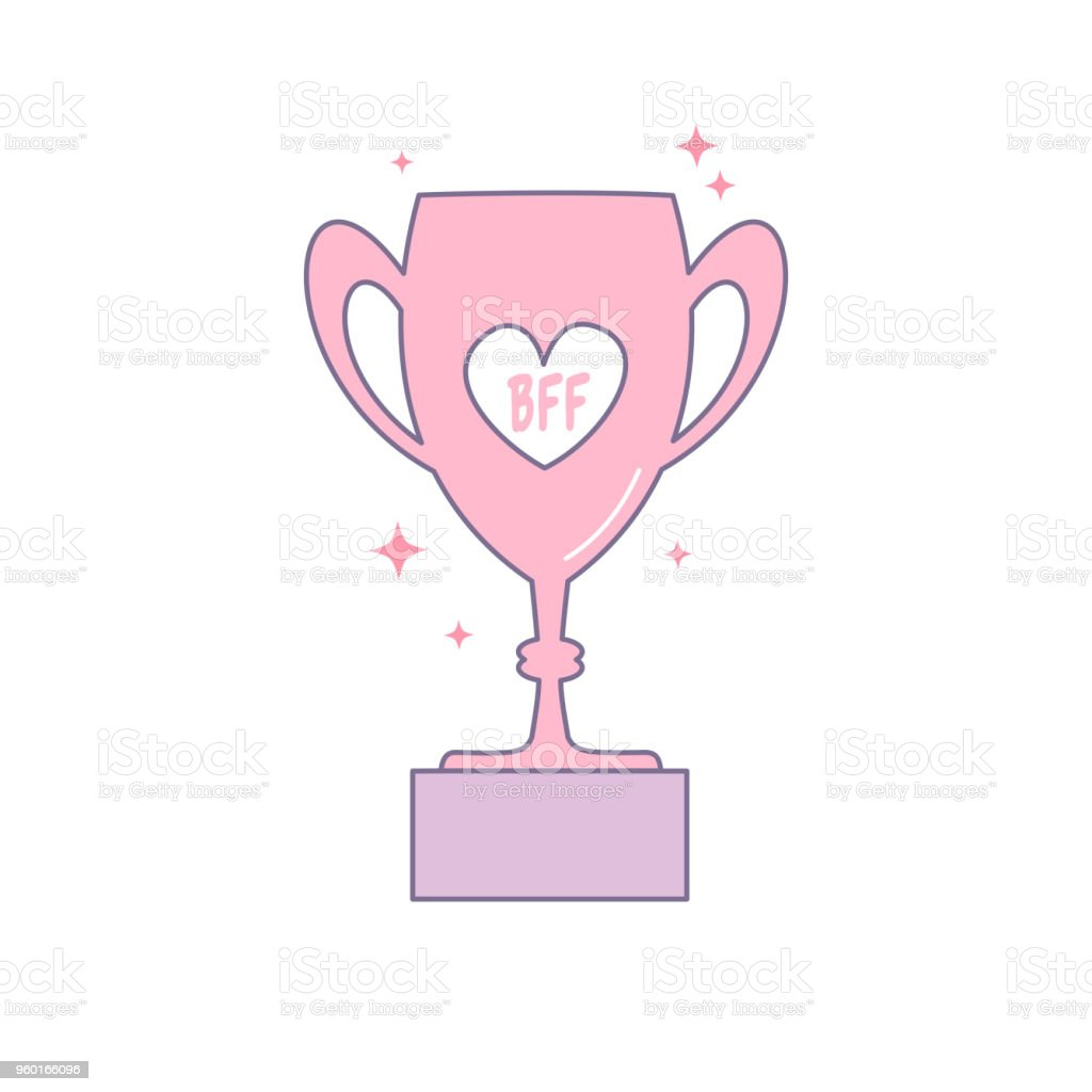 bff best friend forever trophy cartoon vector isolated on white background vector art illustration