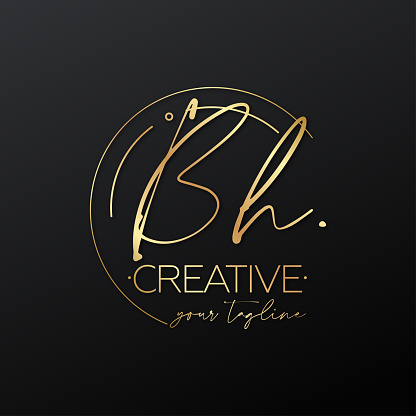 Bh letter calligraphy minimal emblem style vector logo. Gold color and black background.