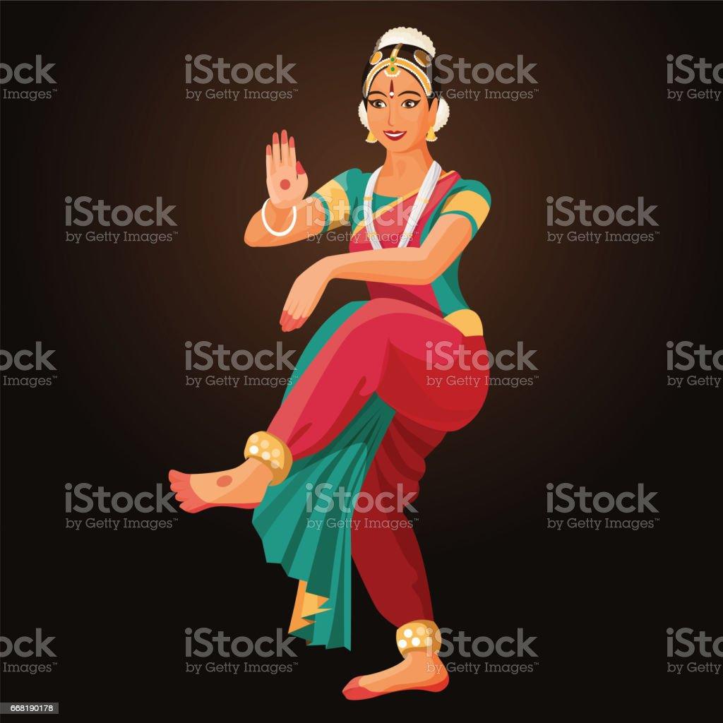 Bharatanatyam or Bharathanatiyam woman dancer vector ilustration isolated vector art illustration