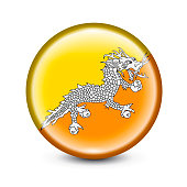 High detailed Vector Bhutan Flag round button with glossy shine on white background