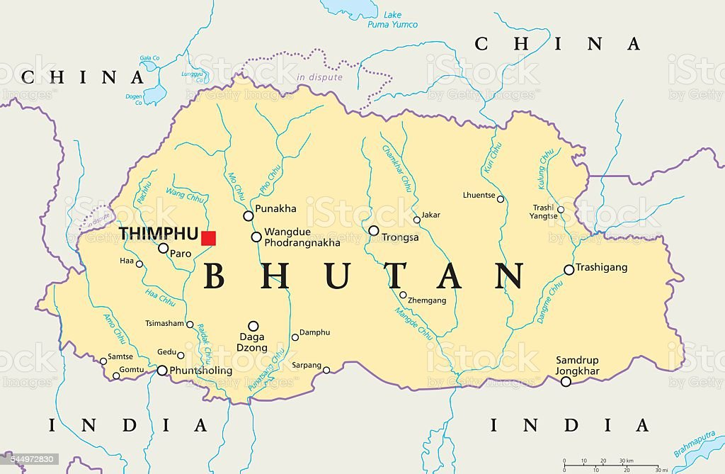 Bhutan Political Map vector art illustration