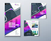 Bi fold brochure design with square shapes, corporate business template for bi fold flyer. Creative concept folded flyer or bifold brochure