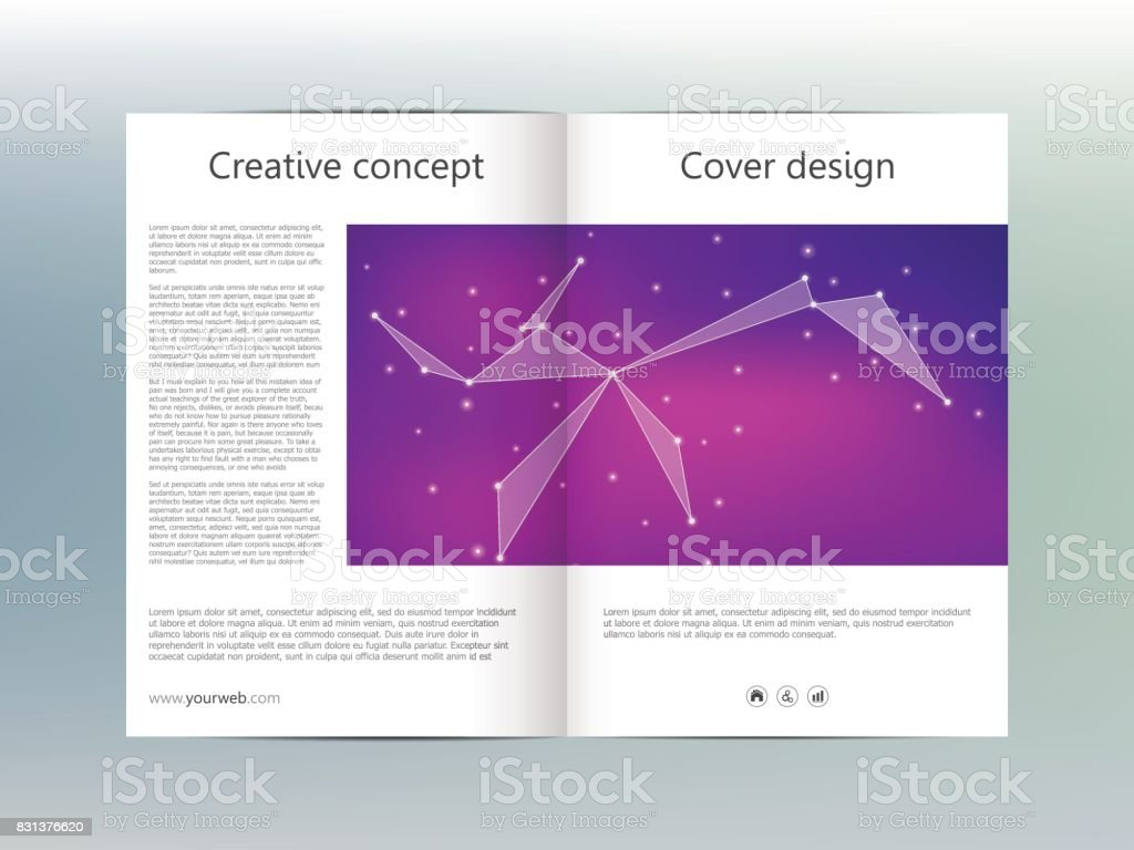 Bi Fold Brochure Template Layout Flyer Cover Annual Report - Double fold brochure template