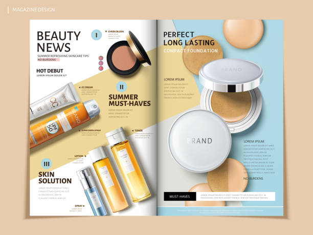 bi fold cosmetic brochure vector art illustration