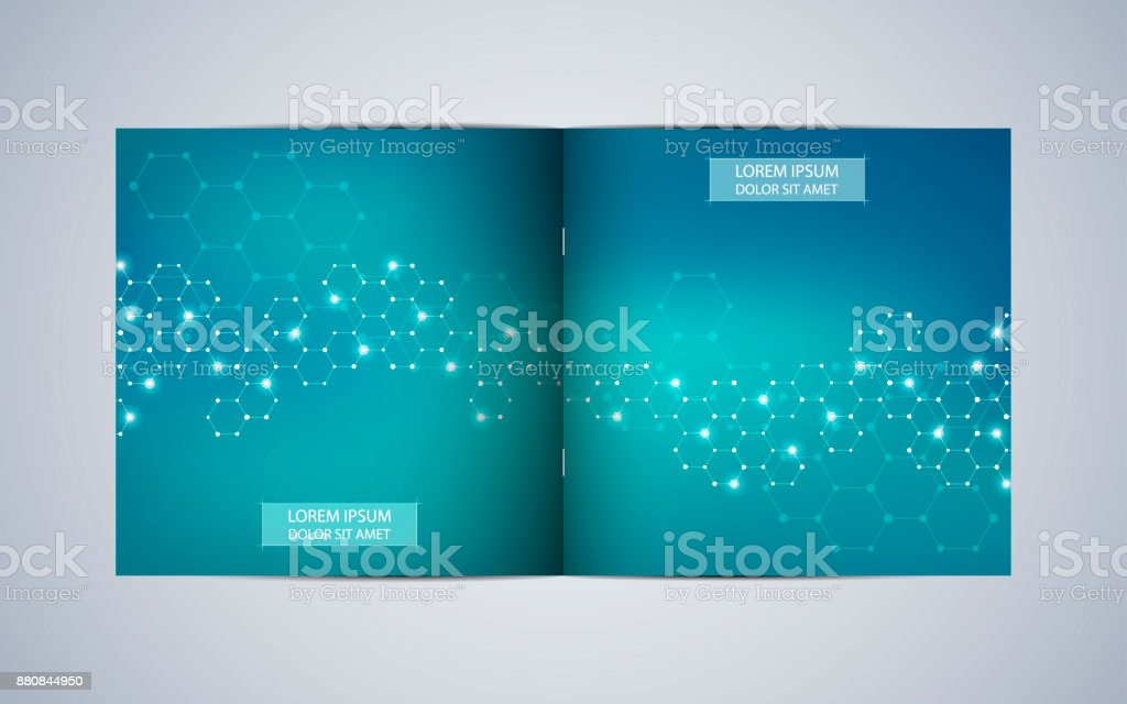 Bi Fold Square Brochure Template Layout Cover Annual Report Minimalist Geometric Abstract Background