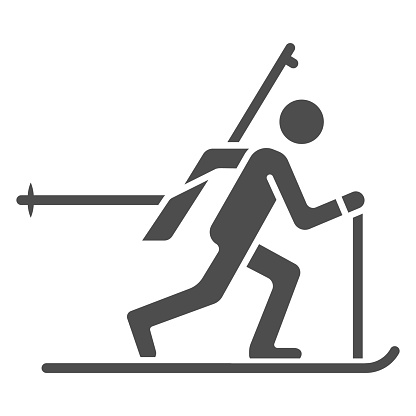 Biathlete at distance solid icon, Winter sport concept, biathlon sportsman sign on white background, Biathlete skiing icon in glyph style for mobile concept and web design. Vector graphics.