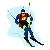 Biathlete in gear goes skiing and helping himself with sticks, Winter sports,Olympic Games competition, vector character in flat style.