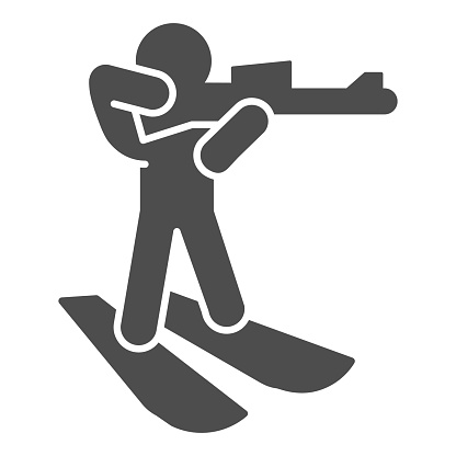 Biathlete skiing with gun solid icon, Winter season concept, biathlon sportsman sign on white background, Biathlete at distance icon in glyph style for mobile, web design. Vector graphics.