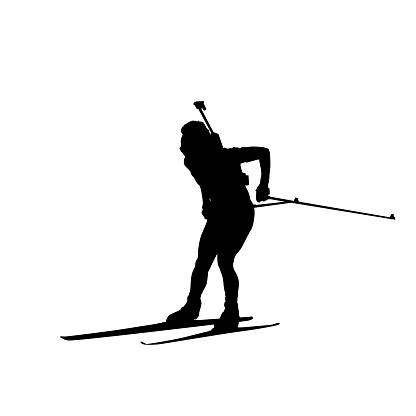 Biathlon man running vector isolated silhouette. Winter sports icon