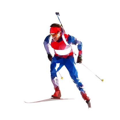 Biathlon race, skier in blue and red jersey, abstract geometric illustration