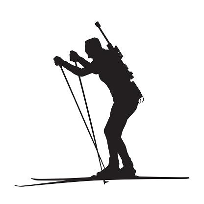 Biathlon race, woman skier, vectror silhouette. Side view