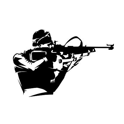 Biathlon racer shooting at target, isolated vector silhouette, biathlon logo