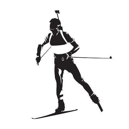 Biathlon racing, abstract vector isolated silhouette