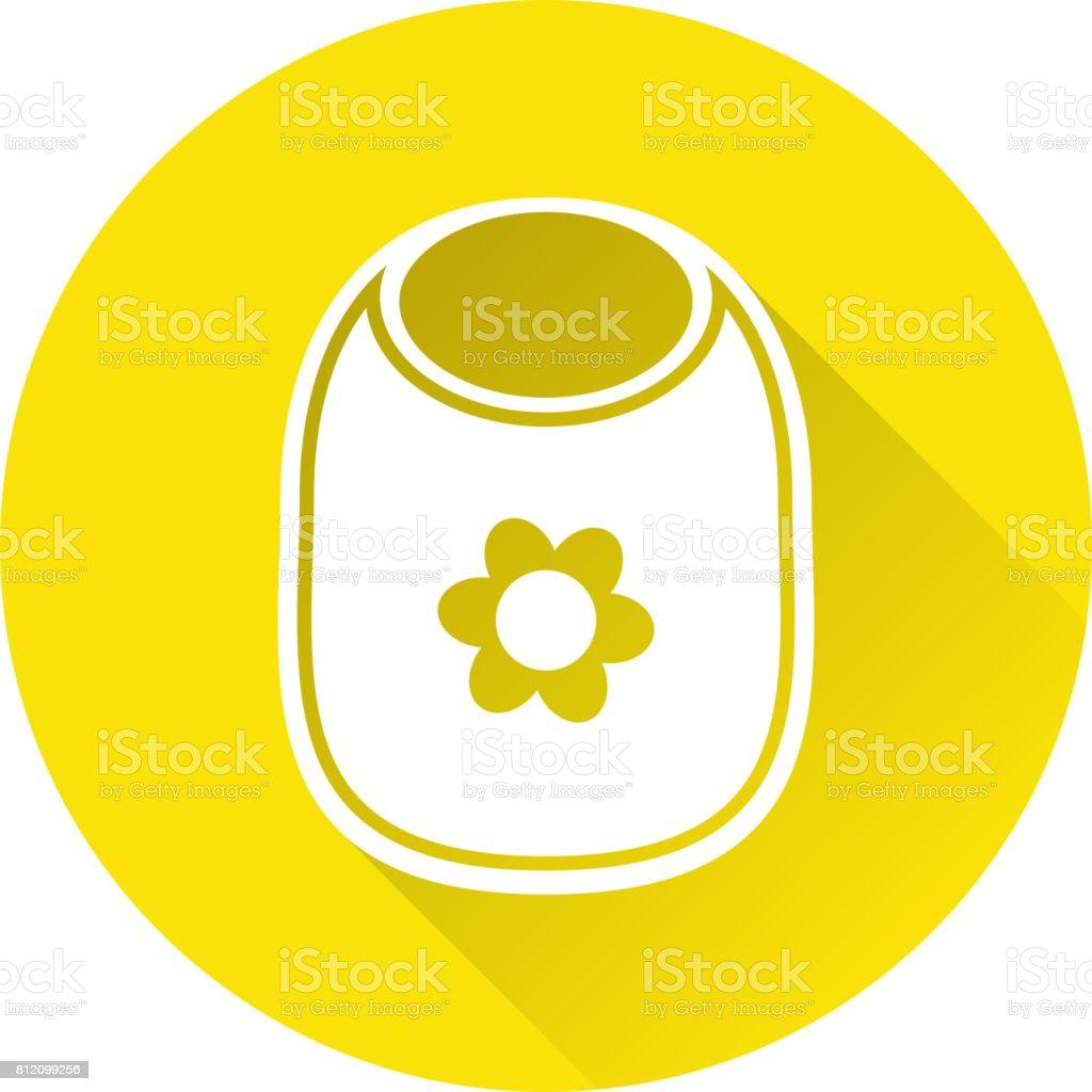 Icône de bavoir bébé blanc. Illustration vectorielle. - Illustration vectorielle