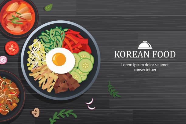 stockillustraties, clipart, cartoons en iconen met bibimbap in de kom op zwarte houten tafelblad weergave. korea voedsel achtergrond. - tafel restaurant top