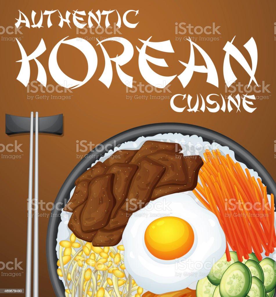 Bibimbap Korean vector art illustration