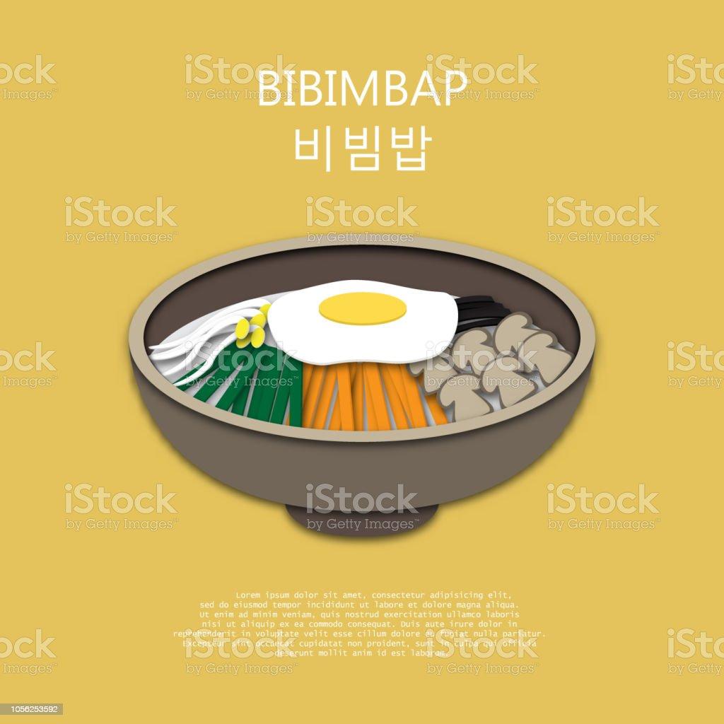 Bibimbap paper art style for background.Translated : Bibimbap vector art illustration